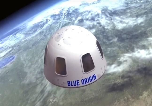 """Illustrationsbild av hur det kan se ut när farkosten New Shepard tar de förmögna passagerarna till rymdens """"gräns""""."""