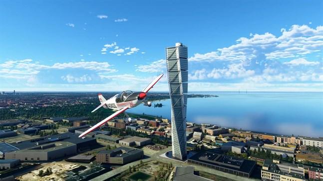 Flera av landmärkerna i de nordiska länderna har skapats manuellt och adderats till Microsofts flygsimulator. Pressbild.