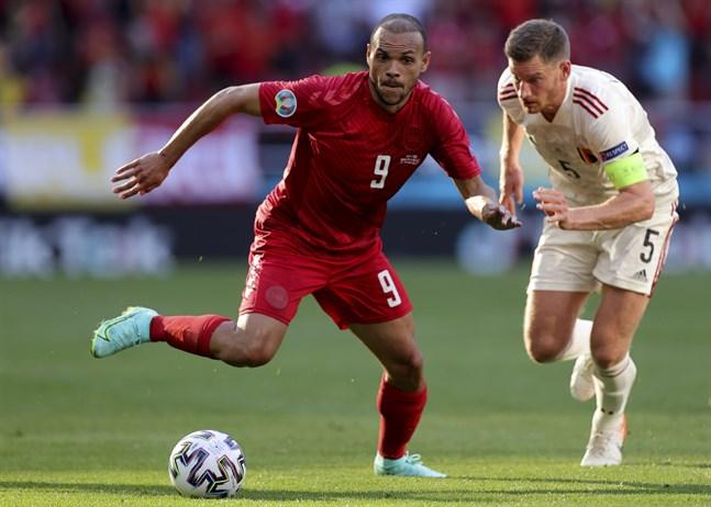 Danmarks anfallare Martin Braithwaite i matchen mot Belgien.