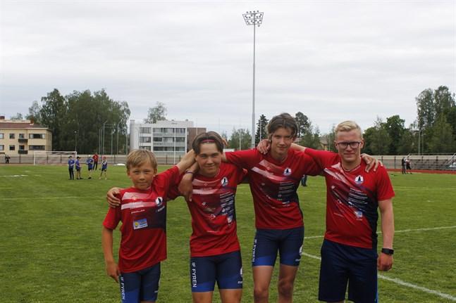 IF Fyrens guldlag: Elwin Fröding, Filip Fröding, Casper Holm och Joel Blomqvist.