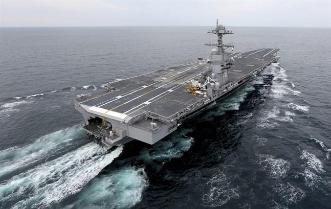 Det stora hangarfartyget USS Gerald R Ford. Arkivbild.