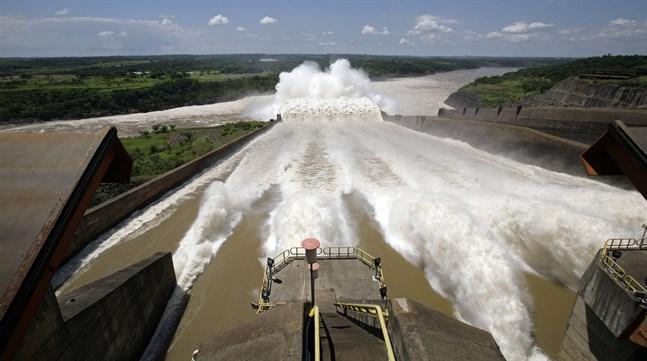 Itaipudammen, en av världens största vattenkraftverk, i södra Brasilien. Arkivbild.