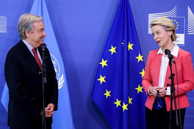 FN:s generalsekreterare António Guterres är på plats i Bryssel för att delta i veckans EU-toppmöte, med bland andra kommissionsordföranden Ursula von der Leyen.
