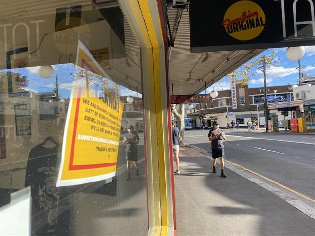 Nedstängda butiker till följd av utbrottet av deltavarianten av coronaviruset i Sydney.