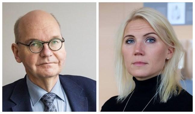 Heikki Kaukoranta, Vasas ledande överläkare och Marina Kinnunen, sjukvårdsdirektör. De båda påpekar vikten av att också vaccinerade fortsätter bära munskydd i allmänna utrymmen.