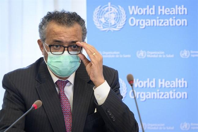 WHO-chefen Tedros Adhanom Ghebreyesus på en pressträff. Arkivbild.