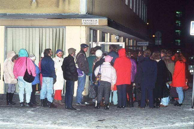 Brödköerna växte snabbt. Den här bilden är från Helsingfors i december 1993.