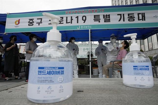 En anläggning där coronavirustester görs i Sydkoreas huvudstad Seoul.