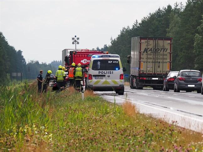 Det inträffade en trafikolycka på riksväg 8 på söndagen.