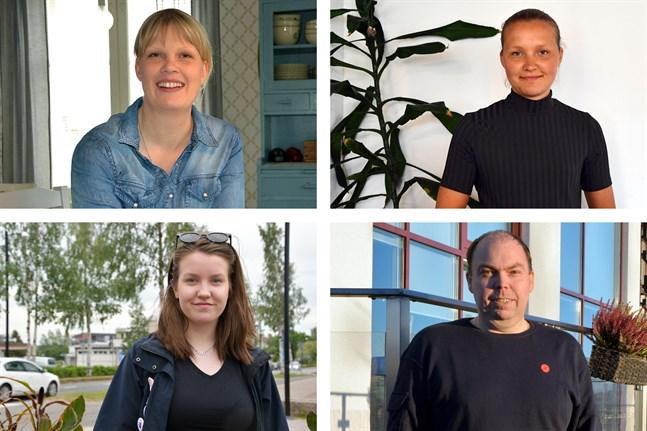 Här är några av de som SFP vill se på någon förtroendepost i höst. Uppe från vänster: Laura Ehlers, som föreslås bli ordförande i bildningsnämnden, Linnea Strand, andra vice ordförande i stadsstyrelsen, Elin Svedman, vice ordförande i fritidsnämnden och Johan Sten, ordförande i tekniska nämnden.