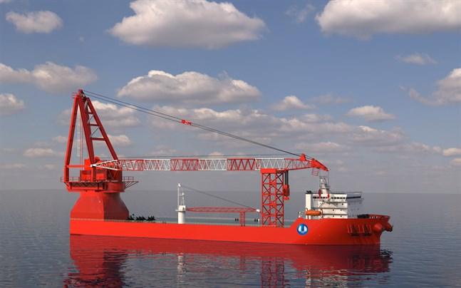 Fartyget utför tunga lyftuppdrag ute till havs.