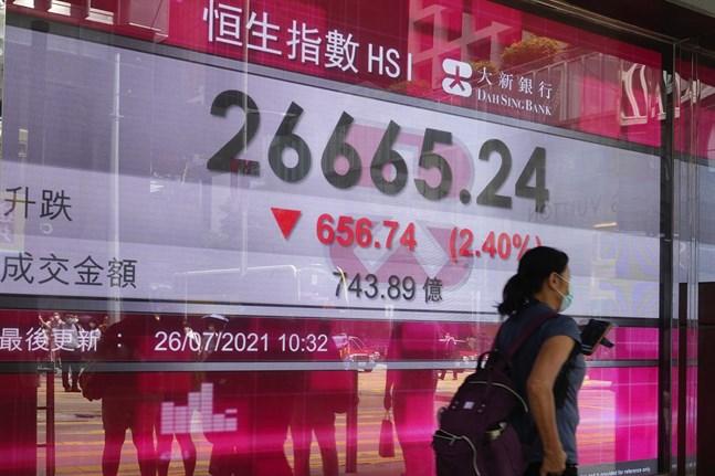 Nedgången på Hongkongbörsen fortsätter. Bilden togs under måndagen.