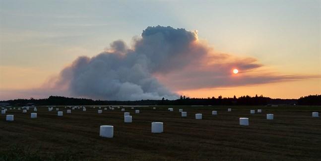 En färsk bild från branden i Kalajoki visar att rökutvecklingen spridit sig häftigt i området.