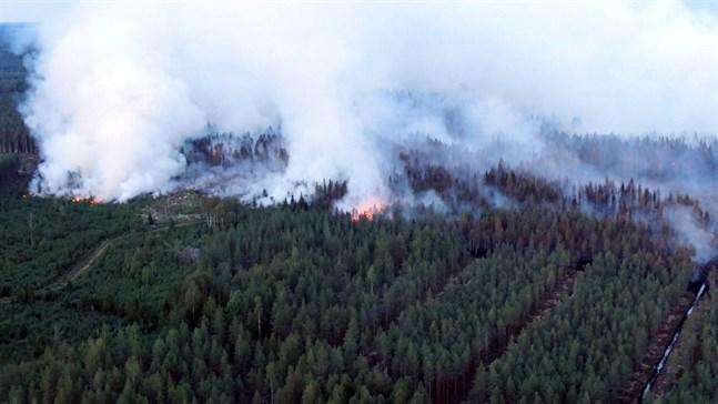 """Det svenska varningsmeddelandet om markbranden i Kalajoki uppmanade allmänheten att """"flytta runt i området""""."""