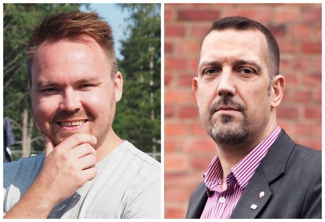 Samlingspartiet innehar posterna som vice ordförande i stadsfullmäktige och stadsstyrelsen. Tommi Mäki (till vänster) föreslås nu bli första viceordförande i fullmäktige och Marko Heinonen första viceordförande i styrelsen.