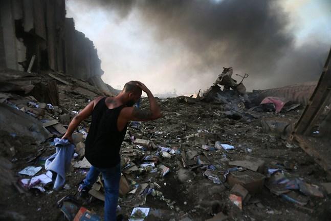 Så här såg det ut i hamnen i Beirut den 4 augusti i fjol.