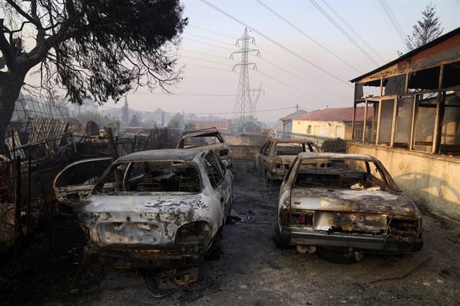 Brända bilar i Atenförorten Varybóbi, där en stor skogsbrand rasar på berget Parnithas sluttningar.