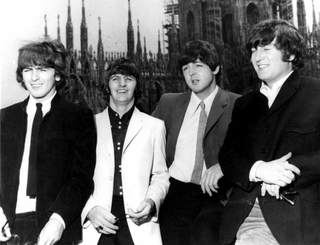George Harrison, Ringo Starr, Paul McCartney och John Lennon i London på 1960-talet. Arkivbild.