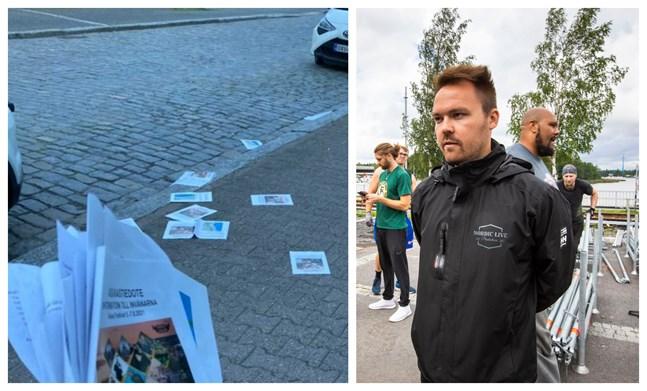Tommi Mäki säger att det var bedrövligt att stiga ut på gatan i morse och se en massa broschyrer ligga och skräpa ner gatubilden.