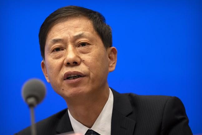 Yuan Zhiming, chef för det nationella biosäkerhetslaboratoriet i kinesiska Wuhan, vid en presskonferens i somras. Arkivbild.