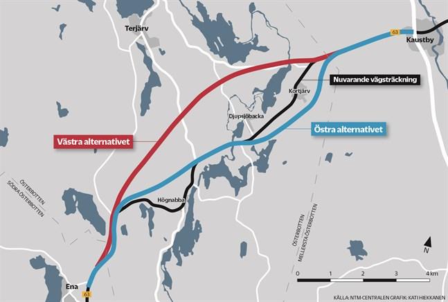 Det blir det västra alternativet för stamväg 63, den röda linjen på kartan, som planeras vidare.