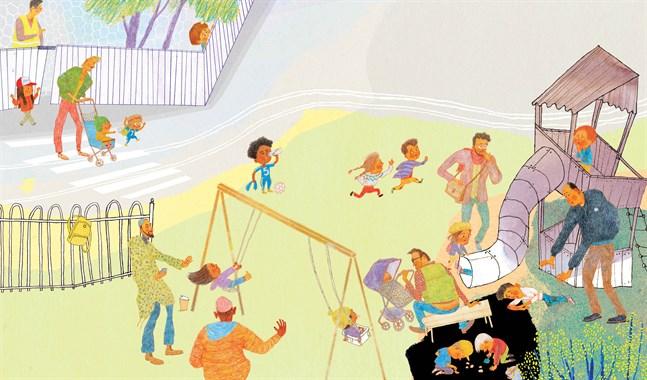 """Jenny Lucander har illustrerat """"Fakta om pappor"""" i detaljrik blandteknik."""