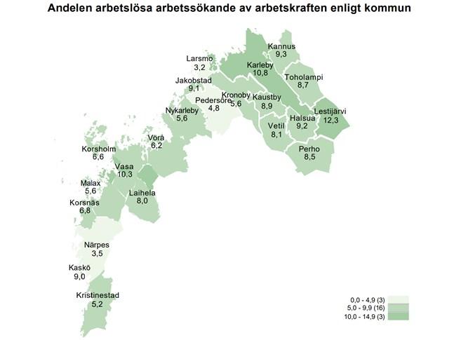 Närpes, Larsmo och Pedersöre har bästa sysselsättningen i Österbotten.