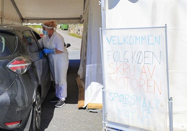 Drive-in-testning i Grimstad i södra Norge tidigare i somras.