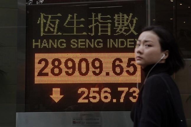 Pilarna pekade nedåt i Hongkong på måndagsmorgonen. Arkivbild.