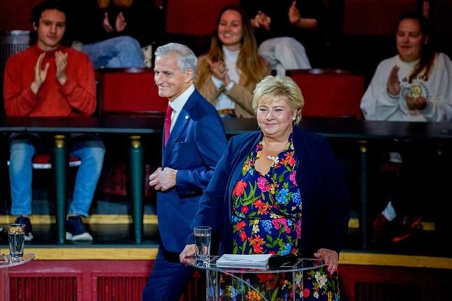 Jonas Gahr Store, ledare för Arbeiderpartiet, och statsminister Erna Solberg.