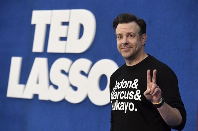 "Jason Sudeikis i den flerfaldigt nominerade tv-serien ""Ted Lasso"". Arkivbild."