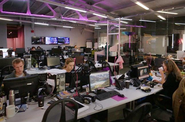 Redaktionen på tv-kanalen Dozjd, Moskva.