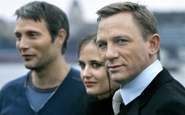 """Daniel Craig på besök i Stockholm tillsammans med Mads Mikkelsen och Eva Green i samband med hans första Bondfilm """"Casino royale"""" 2006."""