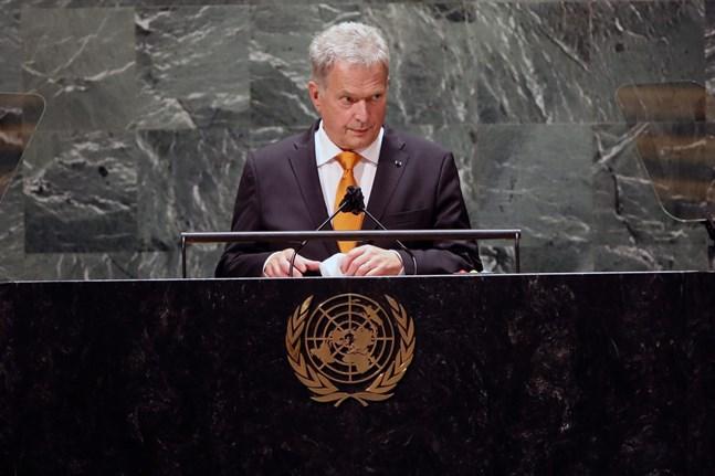 President Sauli Niinistö talade inför FN:s generalförsamling i New York på tisdagen. Arkivbild.