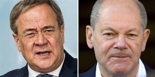 Det är extremt jämnt mellan Armin Laschets (till vänster) CDU och Olaf Scholz (till höger) SPD. Arkivbild.
