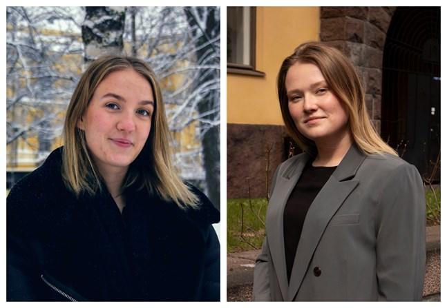Alina Östergård, till vänster, leder Vasa ungdomsfullmäktige och Alexandra Wegelius Finlands svenska skolungdomsförbund. De deltar i det nyaste avsnittet av nyhetspodden Bakom rubrikerna och diskuterar ungas välmående.