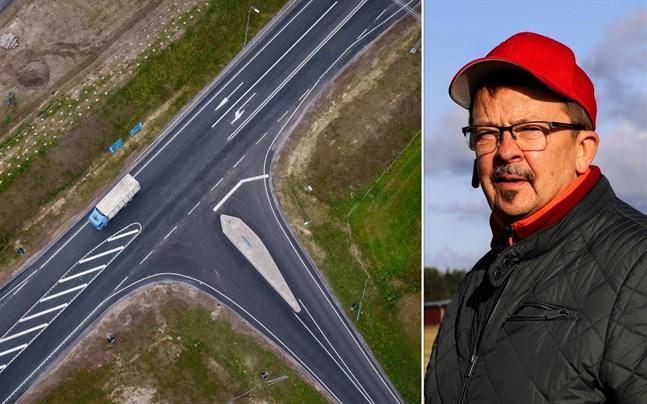 I Ölis-korsningen saknas körfält för högersvängande trafik som kommer norrifrån. Risken är då att bilister som ska svänga bromsar upp trafiken bakom. I värsta fall sker en krock. Det här tycker Rainer Bystedt att man borde åtgärda.