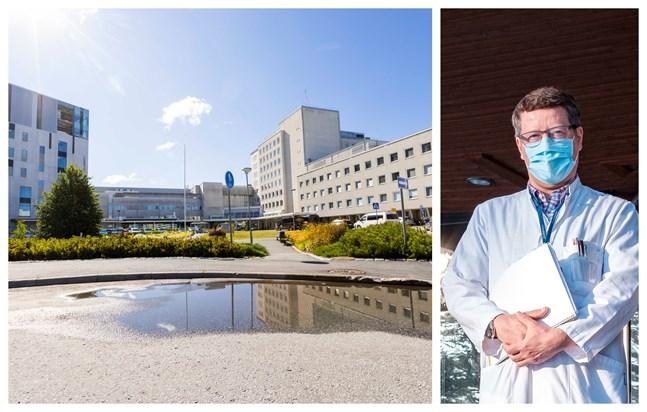 För tillfället vårdas sex coronapatienter på sjuhus. Till höger Juha Salonen, infektionsöverläkare på Centralsjukhuset.