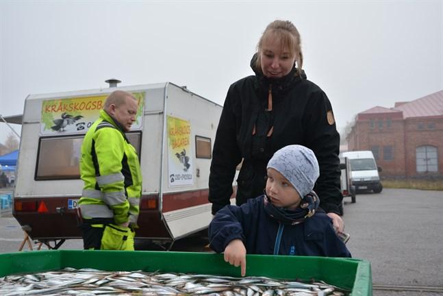 Daniel Hägglund, 4 år, från Övermark var nyfiken på strömmingen som såldes på marknaden. Här är han i sällskap med sin moster Michaela Thölberg. I bakgrunden Robert Sundberg från företagarföreningen.