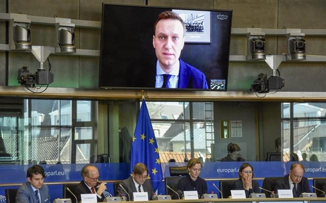 Aleksej Navalnyj under ett tal via länk till EU-parlamentets ledamöter i Bryssel 2018.