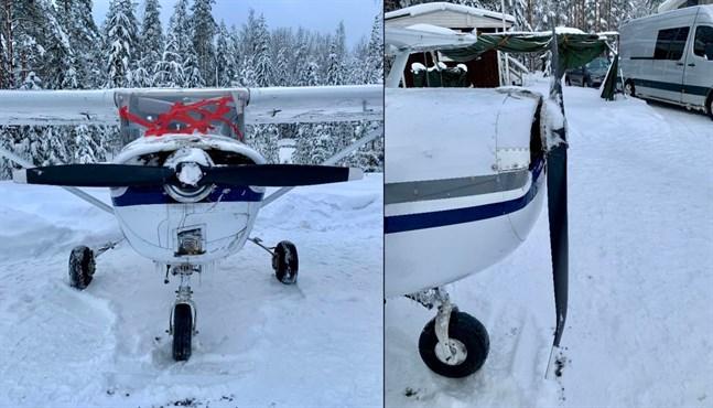 Planet hamnade på taket i snön. Här ses det efter olyckan med tejpad vindruta och skadad propeller.